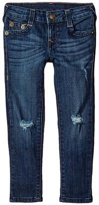True Religion Kids Casey Midnight & Gold Lurex Single End Jeans in Biker Blue (Toddler/Little Kids) $79 thestylecure.com