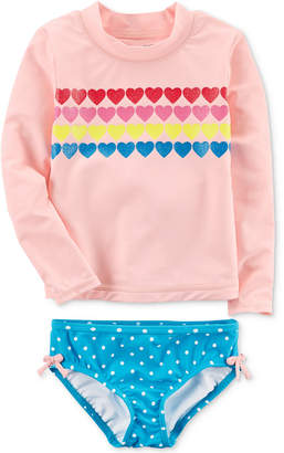 Carter's 2-Pc. Hearts Rash Guard Swimsuit, Toddler Girls