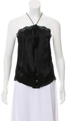 Mayle Silk Lace-Trimmed Top