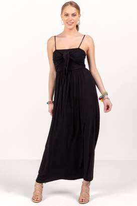 francesca's Christine Tie Front Knit Maxi Dress - Black
