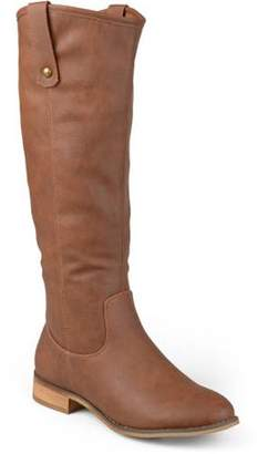 Brinley Co. Women's Wide Calf Faux Leather Mid-calf Round Toe Boots