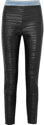 Balmain Pleated Faux-leather And Denim Leggings - Black