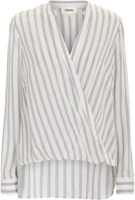 L'Agence Kyla Drape Front Striped Blouse
