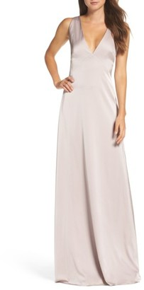 Women's Monique Lhuillier Bridesmaids Dasha Tie Back Sateen Gown $300 thestylecure.com