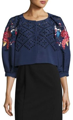 Monique Lhuillier Floral-Embroidered Cropped 3/4-Sleeve Jacket, Navy $2,995 thestylecure.com