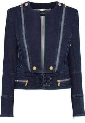 Balmain Zip-Detailed Embossed Denim Jacket