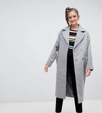Monki longline recycled wool blend coat in gray