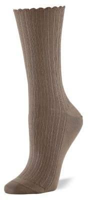 Hue 2-Pair Seal Scalloped Pointelle Socks