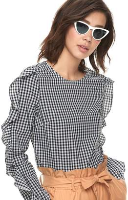 K Lab k/lab Ruffled Gingham Top
