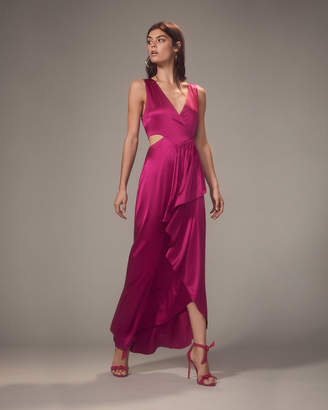 A.L.C. Cantor Cascading Side Ruffle Magenta Dress