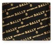 Bally Men's Logo Leather Billfold Wallet - Black Gold