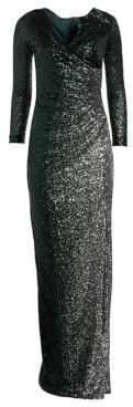 Long Sleeve Side Slit Sequin Dress