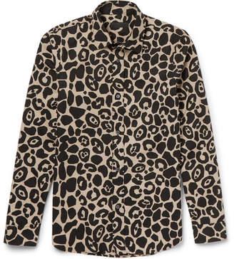 Burberry Prorsum Slim-Fit Leopard-Print Cotton-Poplin Shirt - Men - Camel