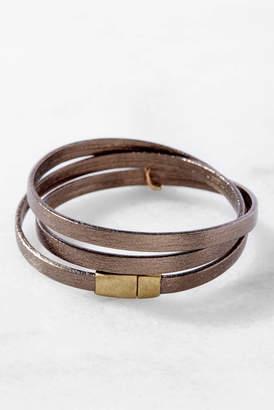 Love Poppy Leather Wrap Bracelet Bronze