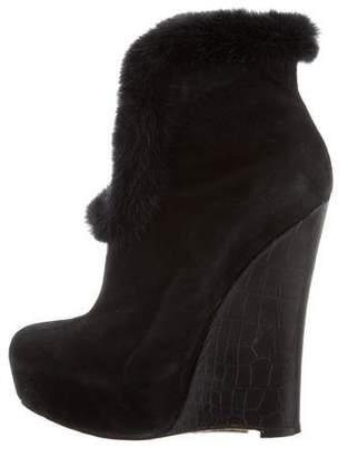 Alejandro Ingelmo Platform Fur-Trimmed Ankle Boots