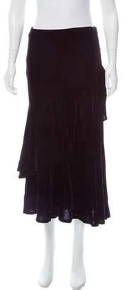 Ralph Lauren Black Label Ruffle-Trimmed Velvet Skirt