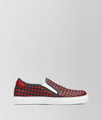 Bottega Veneta NERO/CHINA RED CALF CHECKER SLIP-ON