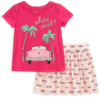 Kate Spade Girls' Where Next Road Trip Tee & Printed Skirt Set