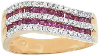 FINE JEWELRY LIMITED QUANTITIES Lead Glass-Filled Pink Ruby and 1/4 CT. T.W. Diamond Wave Ring