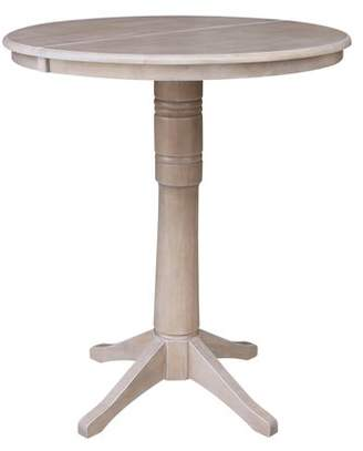 """INC International Concepts 36"""" Round Bar Height Table with 12"""" Leaf - Washed Gray Taupe"""