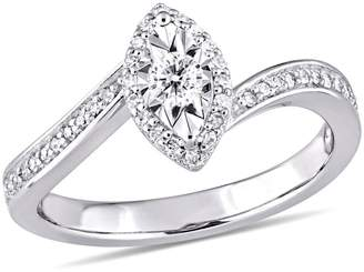 Concerto Sterling Silver and 0.25 CT. T.W. Diamond Halo Ring