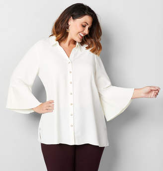 Avenue Pleat Sleeve Pearl Button Shirt