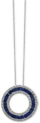 Effy Royale Bleu by Sapphire (1-5/8 ct. t.w.) and Diamond (1/3 ct. t.w.) Circle Pendant Necklace in 14k White Gold