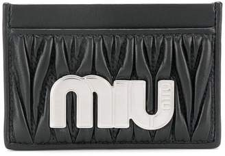 Miu Miu matelassé maxi logo card holder