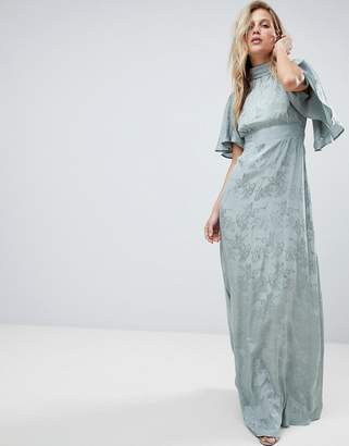 Asos DESIGN Maxi Dress with Floaty Sleeve in Soft Floral Jacquard