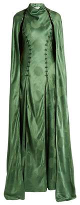 Rosie Assoulin El Capo Detachable Cape Satin Gown - Womens - Green