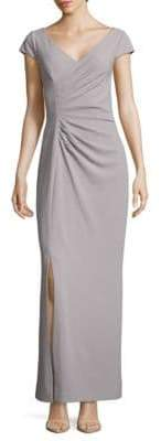 JS Collections Solid Crossfront Sheath Gown