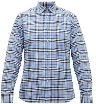 Burberry Simpson House Check Cotton Blend Shirt - Mens - Blue Multi