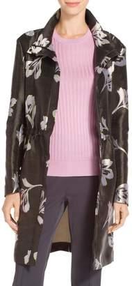 St. John Falling Flower Print Lightweight Jacquard Funnel Neck Coat