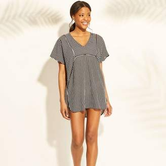 Xhilaration Women's Woven Kaftan Cover Up Dress Black Stripe