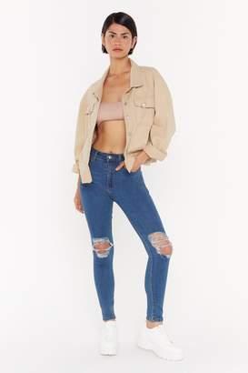 Nasty Gal Womens Choose Knee Skinny Jeans - Blue - 6, Blue