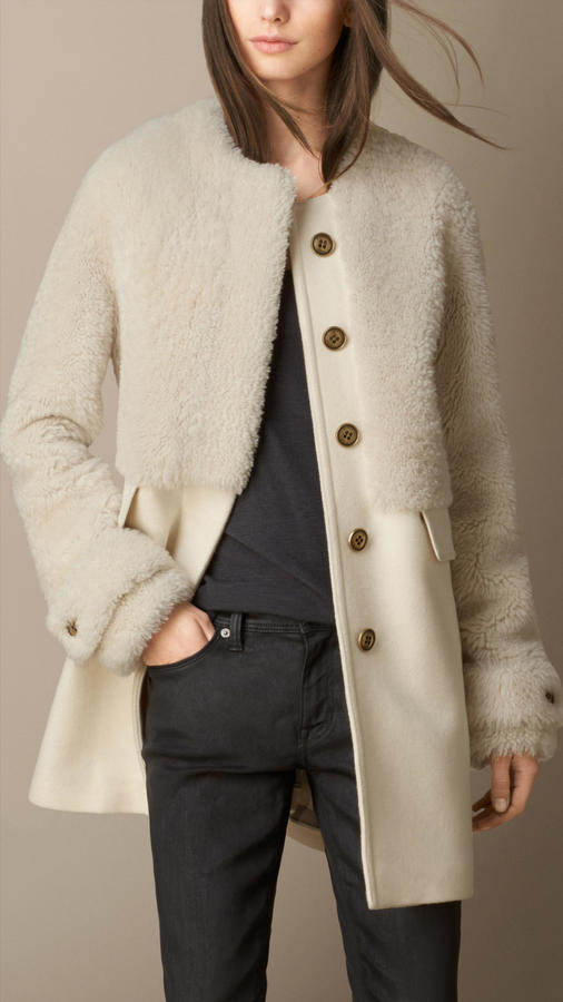 Burberry Shearling and Wool Melton Coat
