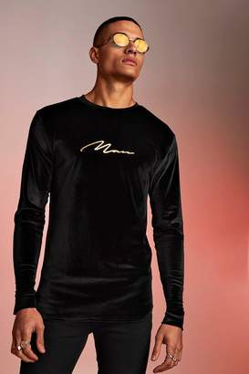 boohoo Long Sleeve Velour MAN Foil Print T-Shirt