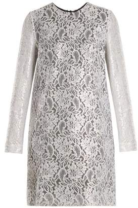 MSGM Coated Lace Mini Dress - Womens - Silver