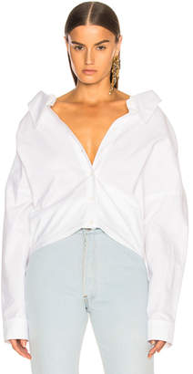 Tibi Watts Oxford Shirting Easy Shirt w/ Zipper Detail