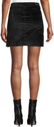 Blank NYC Raven Feather Velvet Mini Skirt