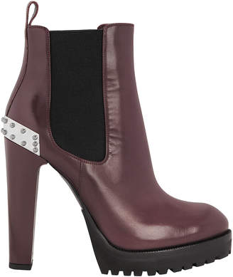Alexander McQueen Burgundy Leather Platform Booties