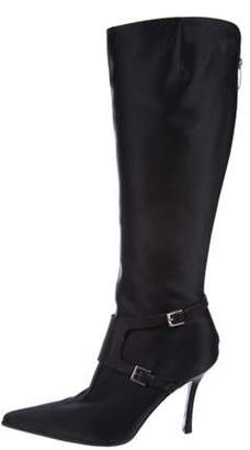 Sergio Rossi Satin Knee-High Boots Black Satin Knee-High Boots