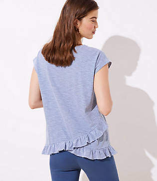 LOFT Striped Ruffle Crossover Back Tee