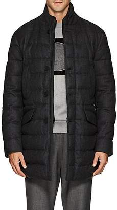 Moncler Men's Keid Down-Quilted Wool Flannel Coat - Charcoal