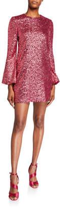 Jill Stuart Sequin Flare-Sleeve Mini Tunic Dress