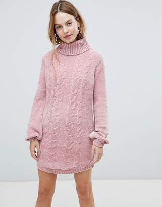 QED London Chunky Cable Knit Sweater Dress With Roll Neck
