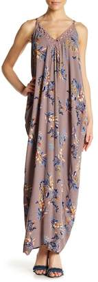 Love Stitch V-Neck Floral Print Lace Trim Maxi Dress