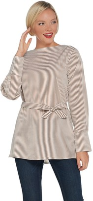 Brooke Shields Timeless BROOKE SHIELDS Timeless Striped Woven Top with Removable Tie