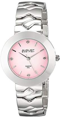 August Steiner Women's AS8157PK Silver Quartz Watch with Pink Dial and Silver Bracelet