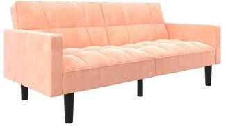 DHP DHP, Harper Convertible Sofa Sleeper Futon with Arms, Pink Microfiber